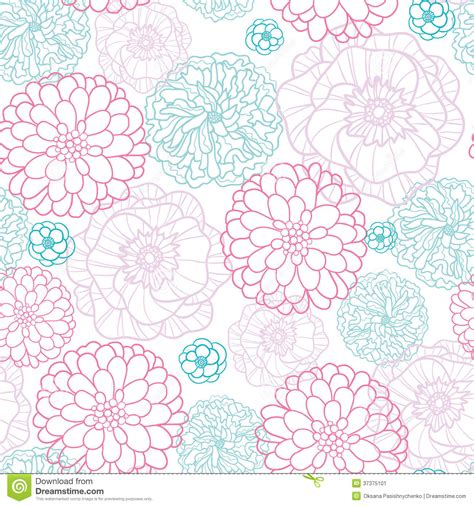 flower pattern modern pink blue flowers lineart seamless pattern stock vector