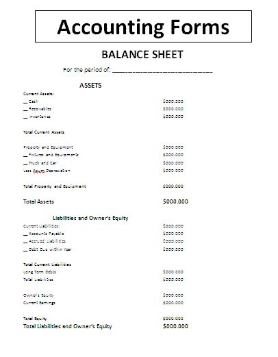 accounting balance sheet template accounting forms a to z free printable sle forms