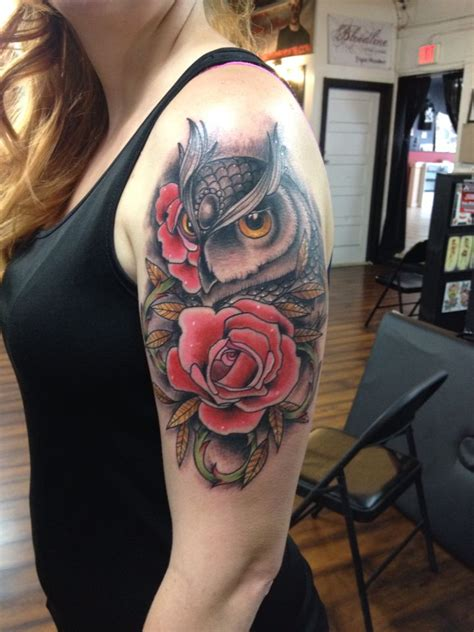 owl and rose tattoo 1846 best images about owl tattoos uil tattoos on