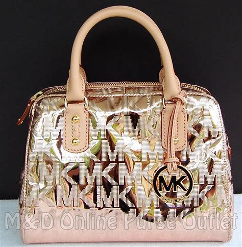 michael kors monogram logo mirror metallic small satchel