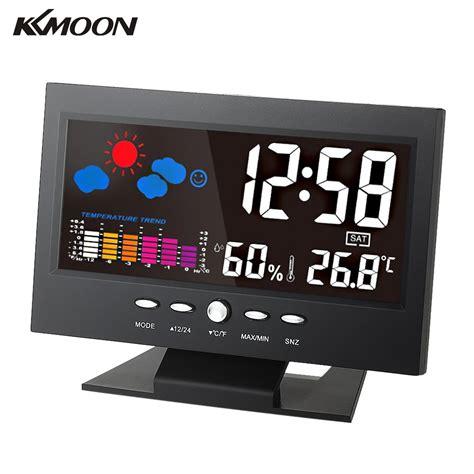 Higrometer Digital Temperature Meter Calendar Lcd Jam Kkmoon Colorful Lcd Weather Station Indoor Hygrometer