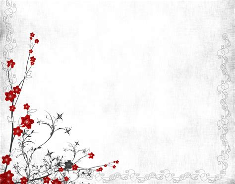 Red Grey Flowers Backgrounds Presnetation Ppt Flowers Powerpoint Template