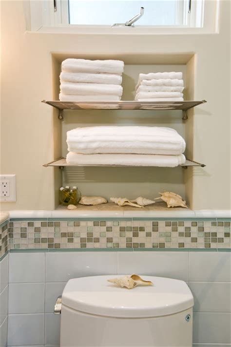 Bathroom With Towel Niche And Chrome Shelves Chrome Bathroom Shelves For Towels