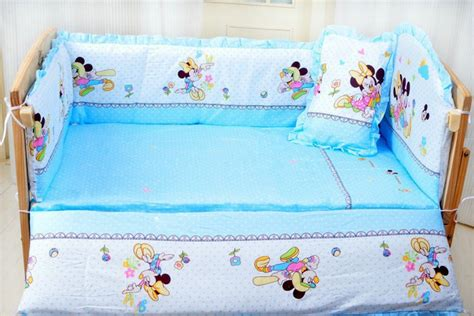 Promotion 7pcs Mickey Mouse Baby Bedding Set Curtain Crib Mickey Mouse Cot Bumper Bedding Sets