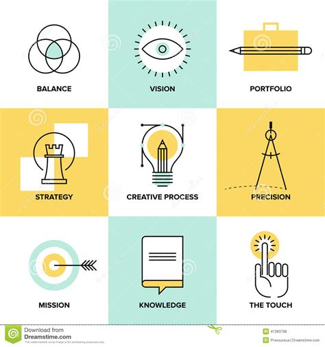 design concept development process creative process design flat line icons stock vector