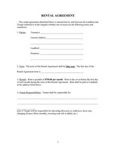 One Page Rental Agreement Template by Rental Agreement Form In Word And Pdf Formats