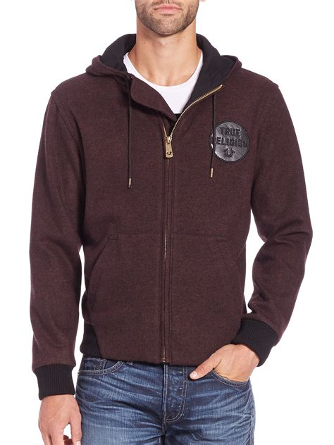 Hoodie Sweater Heck A Day Front Logo true religion logo patch cotton zip front hoodie in for lyst