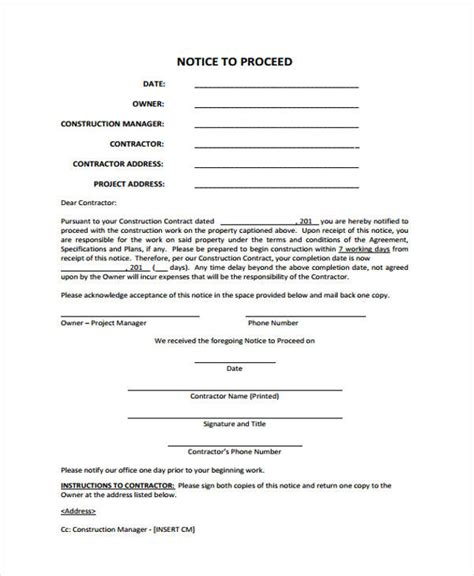 notice to proceed template notice to proceed templates 8 free word pdf format