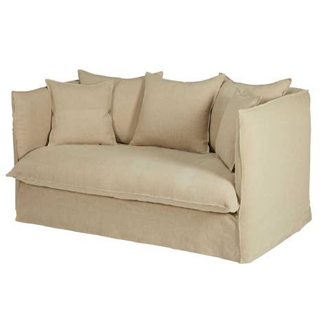 divani in lino divano letto 2 posti beige in lino lavato louvre maisons