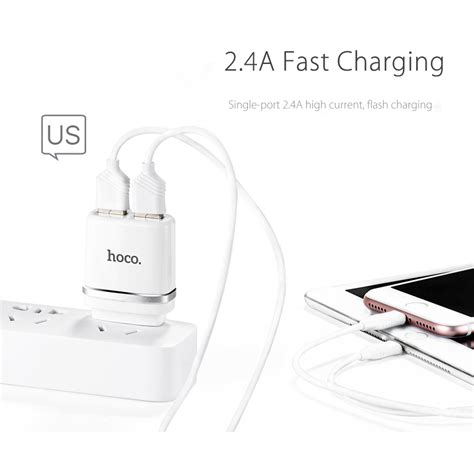 Hoco C12a Usb Charger 2 Port 2 4a Charger Kabel Micro Usb Putih hoco c12a usb charger 2 port 2 4a dengan kabel lighting white jakartanotebook