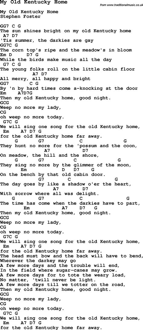 traditional song my kentucky home with chords tabs