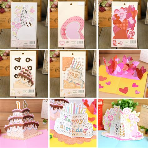 Decoration Pieces Handmade - pop up card with stickers birthday wedding
