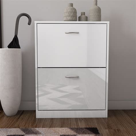 white high gloss shoe storage shoe cabinet white high gloss 2 drawer storage ebay