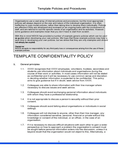 template confidentiality policy free