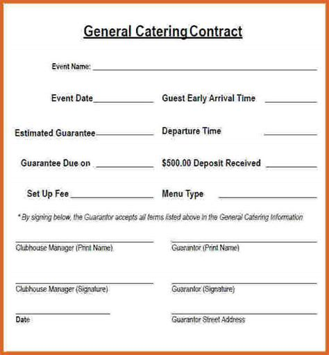 catering contract template catering contract template resume name