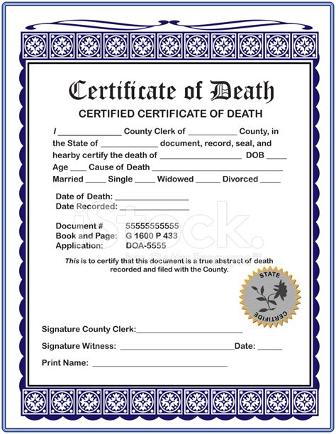 blank certificate of death stock photos freeimages com
