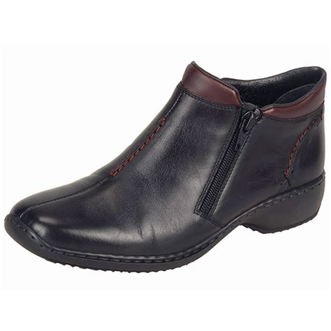 comfortable black ankle boots rieker southsea l3882 00 women s comfortable wide fit