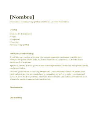 Modelo De Carta De Presentacion Para Curriculum Vitae Carta De Presentaci 243 N Para Cv Verde Office Templates