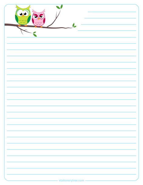 free stationery paper templates owl stationery and writing paper notes stationery