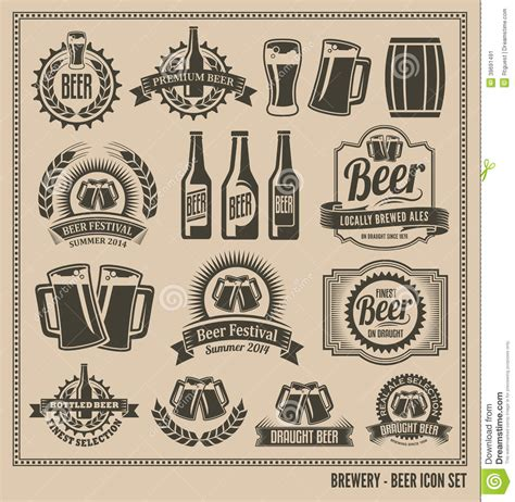 how to make a retro icon style using the appearance panel vintage retro beer icon set stock vector illustration of