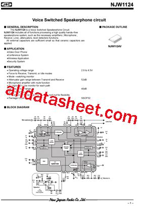 transistor njw njw1124 datasheet pdf new japan radio