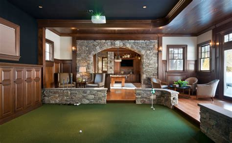 golf home decor gym golf simulator traditional family room boston