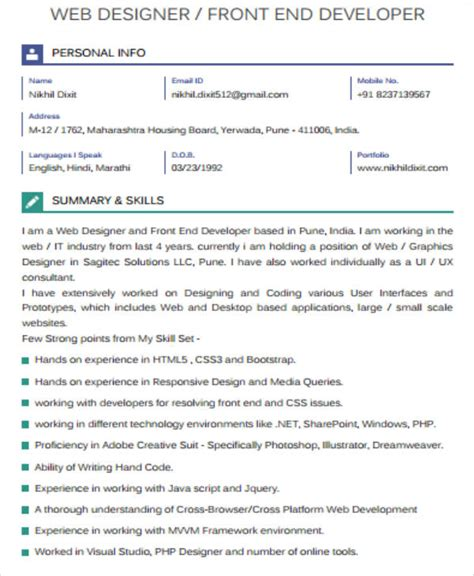 front end web developer resume template 7 sle front end developer resumes sle templates