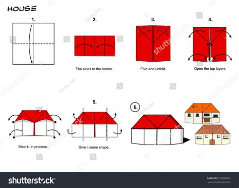 how to make an origami house step by step origami house steps stock illustration