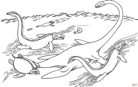 sea dinosaurs coloring pages elasmosaurus hesperornis tylosaurus archelon and
