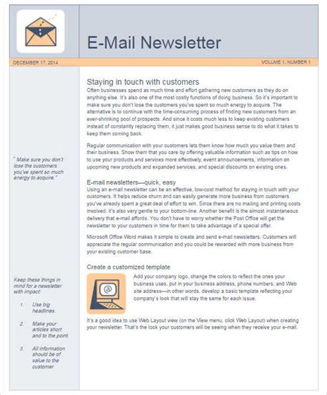 email template for newsletter 170 newsletter templates word free premium documents