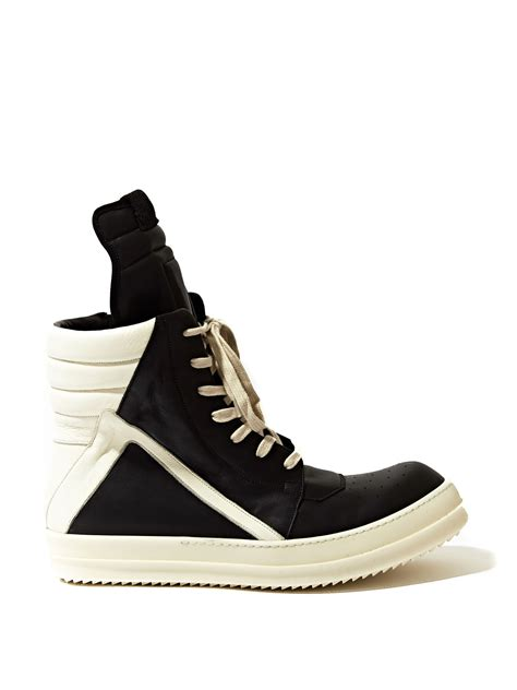 black sneakers rick owens mens geobasket sneakers in black for lyst