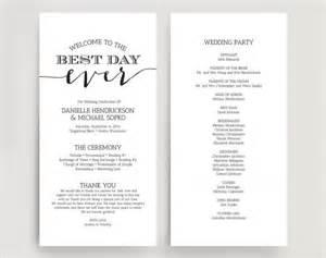 Printable Wedding Program Templates by Wedding Programs Wedding Program Instant
