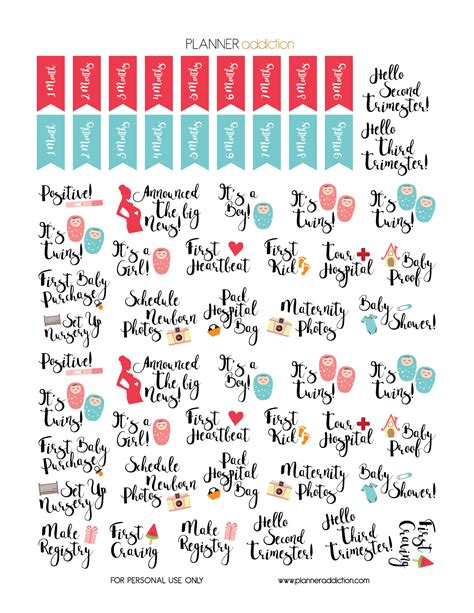 Kesya Instant free printable planner stickers pregnancy by planner