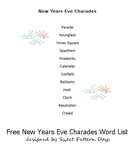 new year words list new years charades activity printables