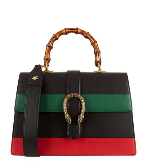 Gucci Dionysus Stripe Bamboo Top Handle Summer gucci dionysus striped bamboo top handle bag black green white blue modesens