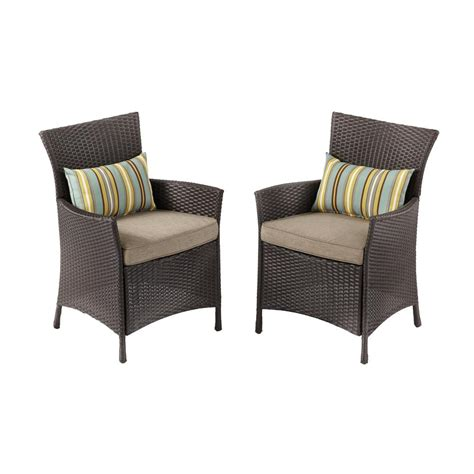 Wicker Outdoor Dining Chairs Hton Bay Tacana Stationary Wicker Outdoor Dining Chair 2 Pack Frs50421h 2pk The Home Depot