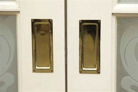 Pocket Glass Doors Pair Of Pocket Wood Doors With Six Frosted Glass Panels Olde Things