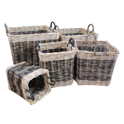 rattan baskets buy two tone rattan square wicker log basket from the