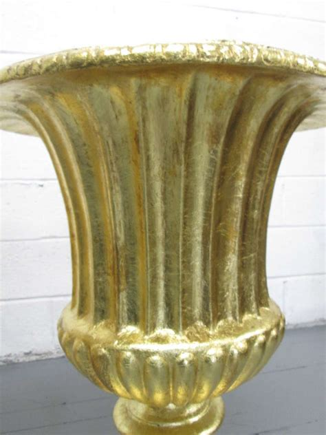 Gold Planters by Pair Oversized Gold Gilted Urn Planters At 1stdibs
