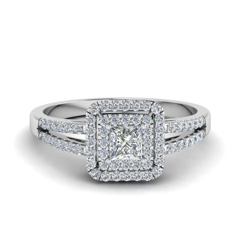 princess cut french pave double halo diamond engagement