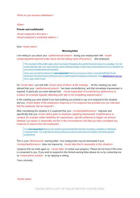 warning letter employee templates