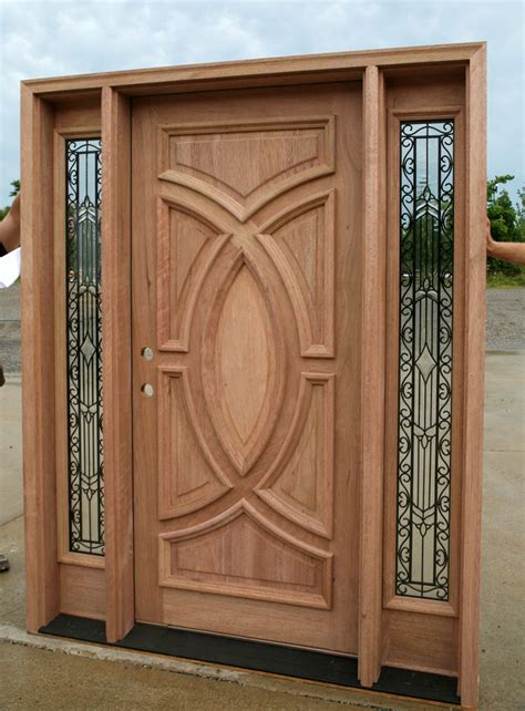 Exterior Hardwood Doors Exterior Wood Doors With Wrought Iron Glass Sidelights