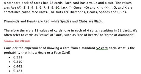 P Drawing An Ace From A Fair Deck Of Cards by Solved A Standard Deck Of Cards Has 52 Cards Each Card H