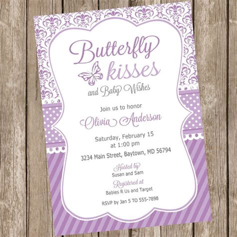 Butterfly Invitations For Baby Shower butterfly kisses baby shower invitation butterfly baby shower