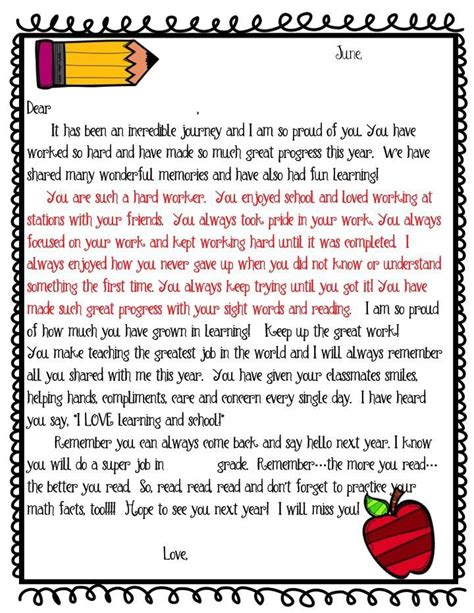 Request Letter Last Paragraph editable student end of year letter freebie this student