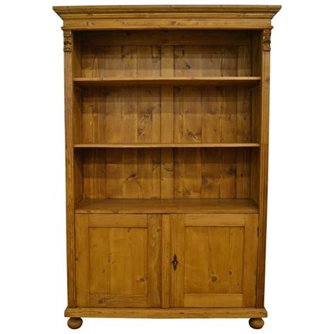 Pine Bookcase With Doors Pine Bookcase With Doors At 1stdibs