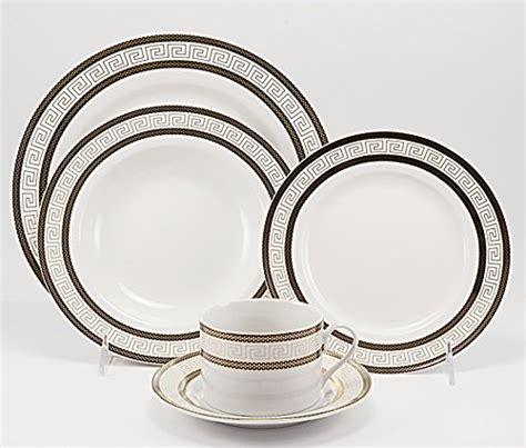 black pattern dinner set royalty porcelain 20 piece old fashioned white dinnerware