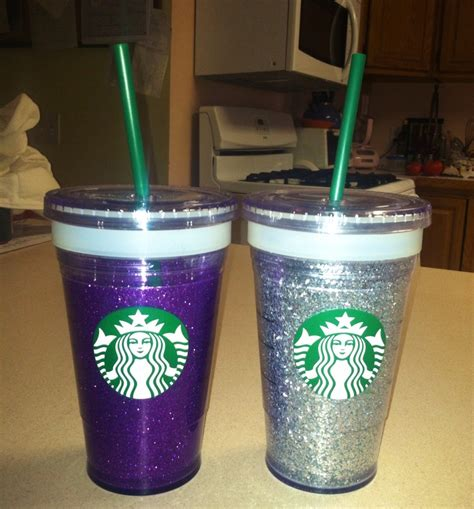 Starbucks Gliter Cold Cup diy glitter tumblers you will need starbucks walled cold cups craft glitter spray
