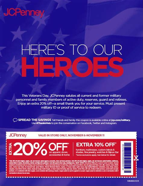 Jcpenney Printable Coupons Veterans Day | jcpenney s coupon 20 discount for military veterans