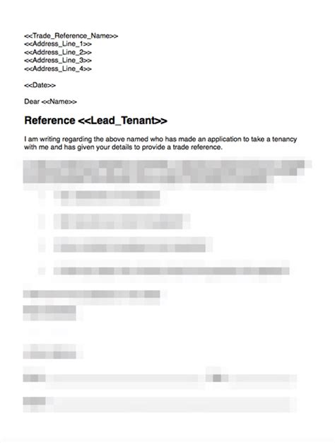 Tenant Reference Request Template Trade Reference Request Template Grl Landlord Association